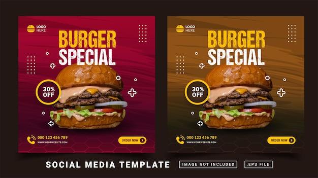 Modèle de bannière de médias sociaux pour la promotion du menu spécial burger