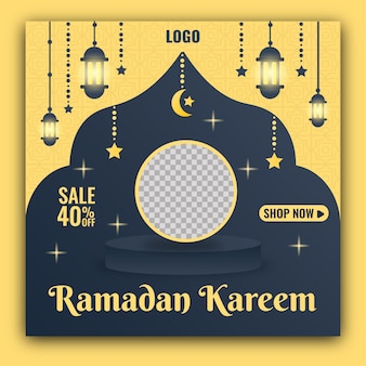 Modèle de bannière de médias sociaux ramadan