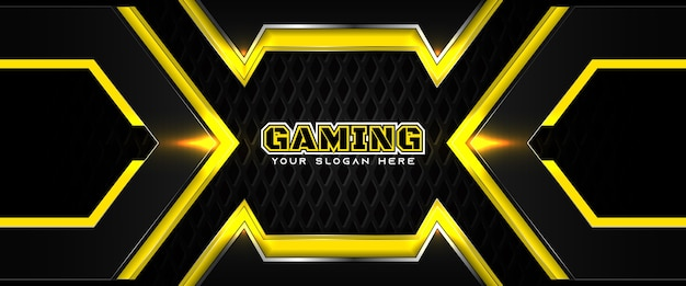 Modèle de bannière de médias sociaux d'en-tête de jeu futuriste jaune et noir