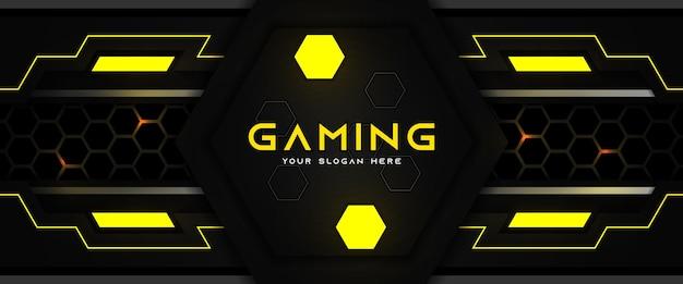 Modèle de bannière de médias sociaux en-tête de jeu futuriste jaune et noir