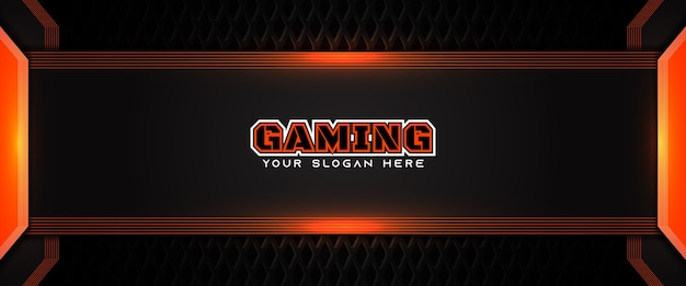 Modèle de bannière de médias sociaux d'en-tête de jeu futuriste orange et noir