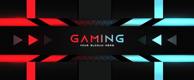 Modèle de bannière de médias sociaux d'en-tête de jeu futuriste rouge et bleu clair