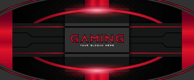 Modèle de bannière de médias sociaux en-tête de jeu futuriste rouge et noir
