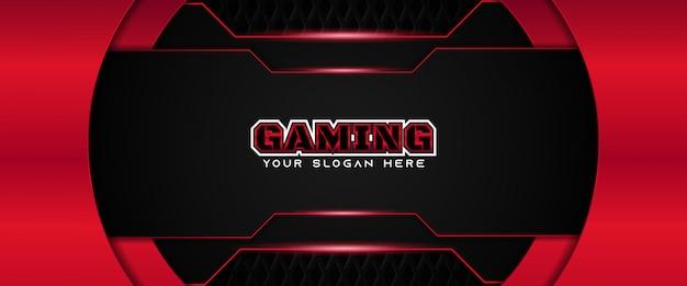 Modèle de bannière de médias sociaux d'en-tête de jeu futuriste rouge et noir