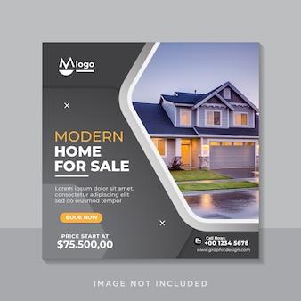 Modèle de bannière de médias sociaux de vente immobilière de maison moderne
