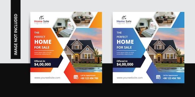 Modèle de bannière de médias sociaux de vente immobilière