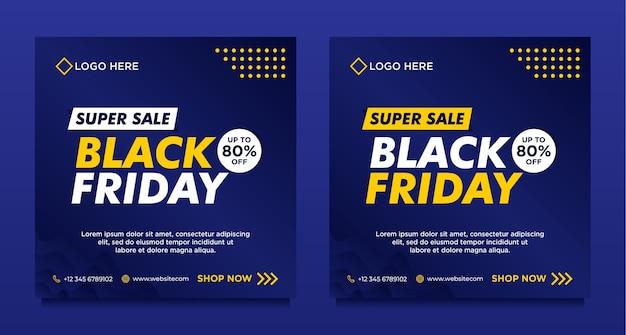 Modèle de bannière de médias sociaux vente vendredi noir avec style dégradé bleu