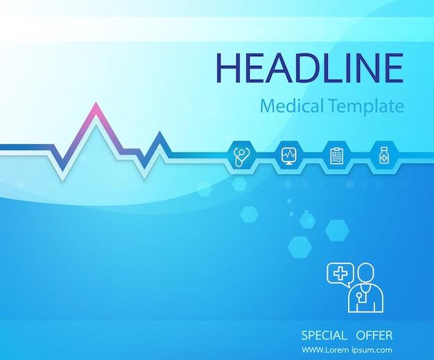 Modèle de bannière médicale ecg et coeur icône