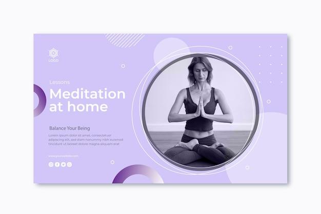Modèle de bannière de méditation et de pleine conscience