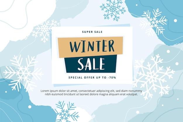 Modèle de bannière moderne abstrait de vente d'hiver avec des flocons de neige