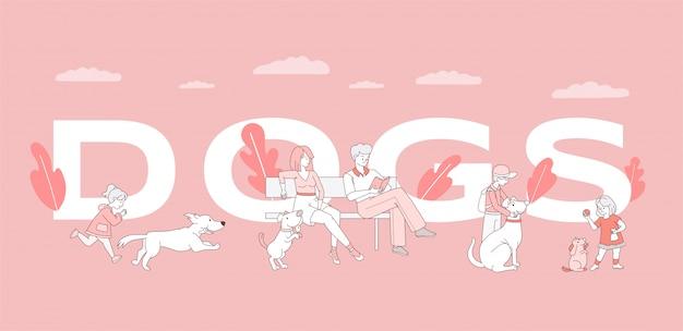 Modèle de bannière de mot chiens. homme, femme et enfants passant du temps avec la conception d'affiche d'animaux domestiques.