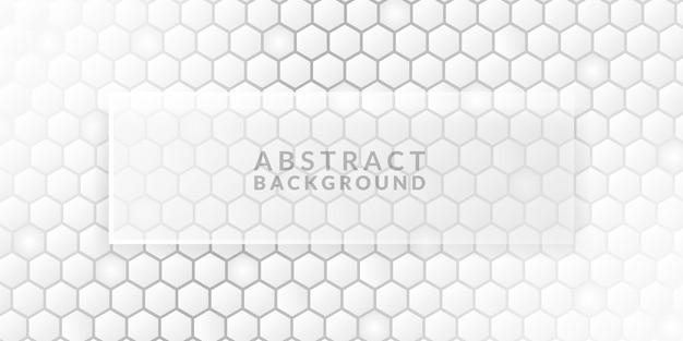 Modèle de bannière en nid d'abeille hexagonal élégant blanc gris élégant fond de bannière de fond
