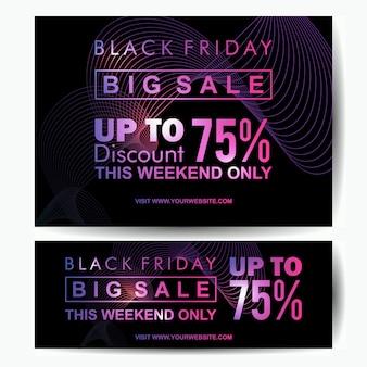 Modèle de bannière noir vendredi grande vente style lueur néon