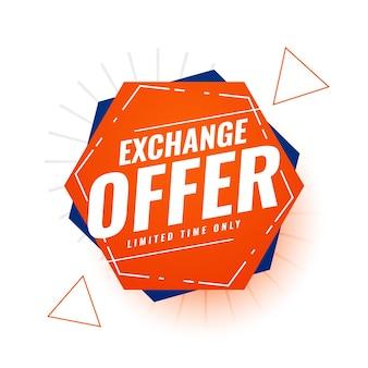 Modèle de bannière d'offre d'échange à durée limitée