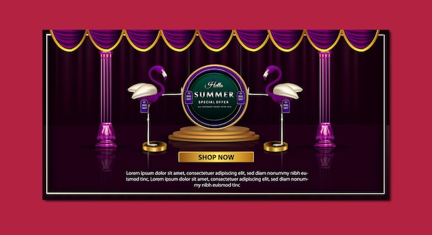Modèle de bannière d'offre spéciale de promotion d'été de luxe