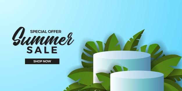 Modèle de bannière d'offre de vente d'été avec affichage de produit de podium de cylindre 3d avec des feuilles tropicales vertes