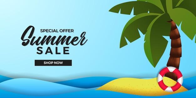 Modèle de bannière d'offre de vente d'été avec île de plage de sable avec cocotier