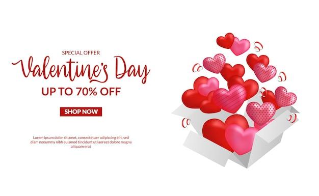 Modèle de bannière d'offre de vente saint valentin avec coeur pop-up