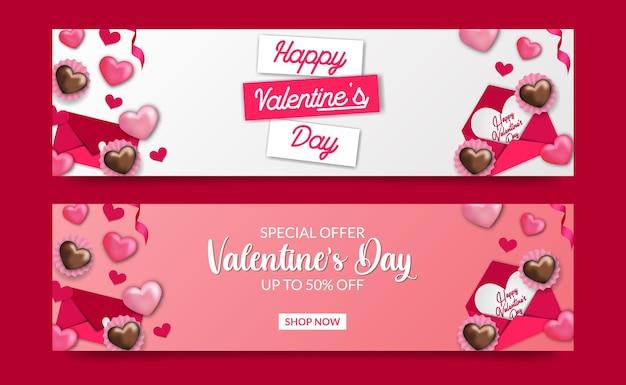 Modèle de bannière d'offre de vente de saint-valentin avec illustration de lettre d'amour et d'enveloppe de cupcake de bonbons sucrés