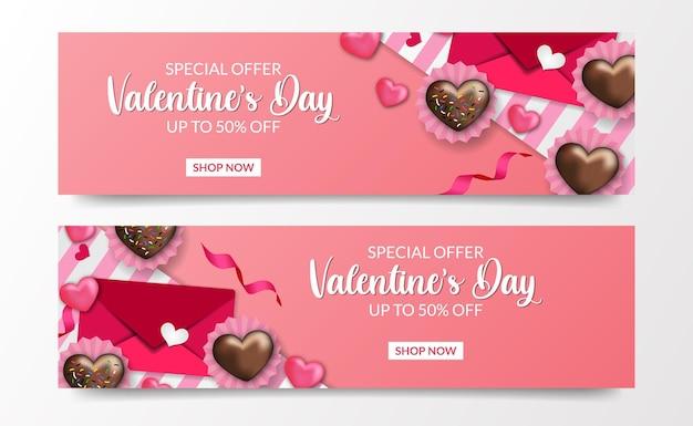 Modèle de bannière d'offre de vente de la saint-valentin avec lettre d'amour et chocolat d'amour