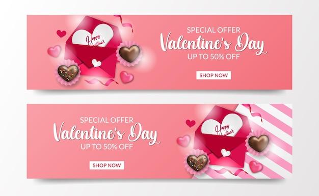 Modèle de bannière d'offre de vente de la saint-valentin avec lettre d'amour et modèle d'illustration de vue de dessus de gâteau au chocolat d'amour