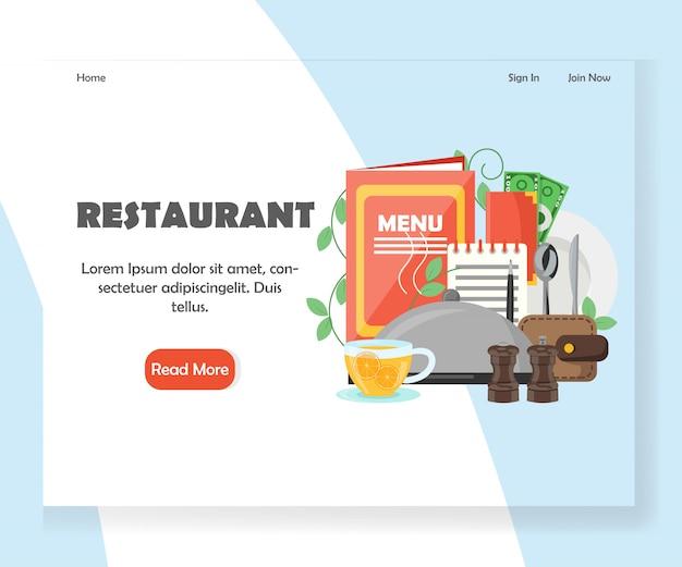 Modèle de bannière de page de destination pour le site web restaurant vecteur