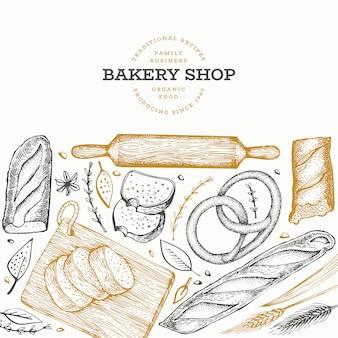 Modèle de bannière de pain et de pâtisserie