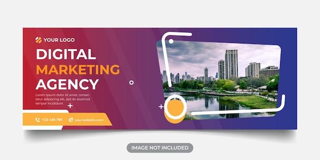 Modèle de bannière panoramique d'agence de marketing numérique pour la couverture facebook