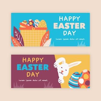 Modèle de bannière de pâques dessinés à la main de lapins