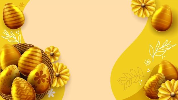 Modèle de bannière de pâques avec des oeufs de pâques dans le nid