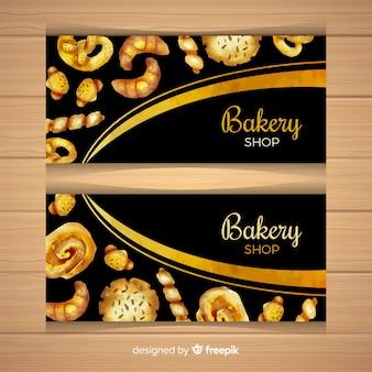 Modèle de bannière de pâtisseries aquarelle