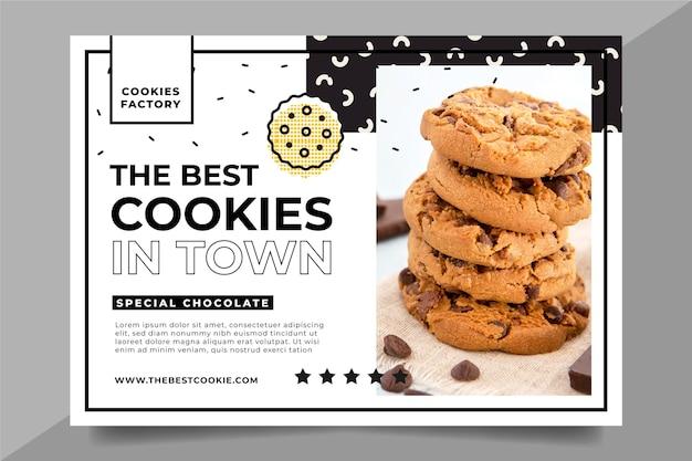 Modèle de bannière avec photo de cookies