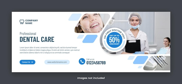 Modèle de bannière de photo de couverture facebook de services de soins dentaires