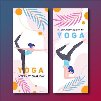 Modèle de bannière plat journée internationale du yoga
