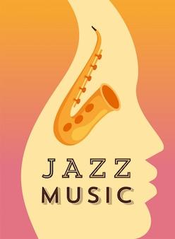 Modèle de bannière plat de musique jazz