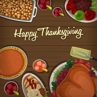 Modèle de bannière de plat de thanksgiving plat haut de bande dessinée