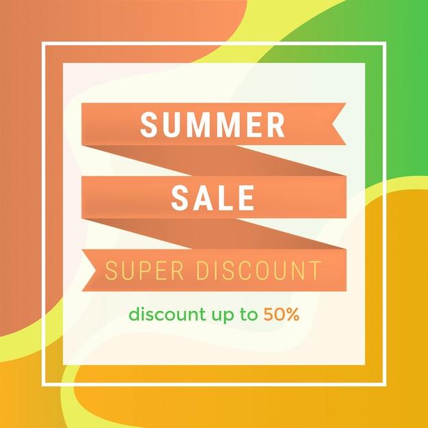 Modèle de bannière plat de vente d'été