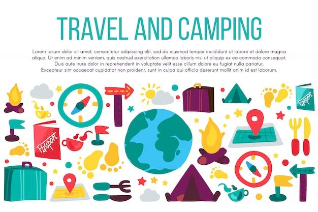 Modèle de bannière plat de voyage et de camping. vacances de vacances, tourisme, loisirs de la faune
