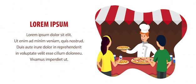 Modèle de bannière plate de magasin de pizza italienne