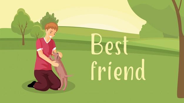 Modèle de bannière plate meilleur ami. adoption d'animaux, conception d'affiche de soins aux animaux avec personnage de dessin animé. enfant avec chien, garçon gai jouant avec une jolie petite illustration de chiot avec typographie