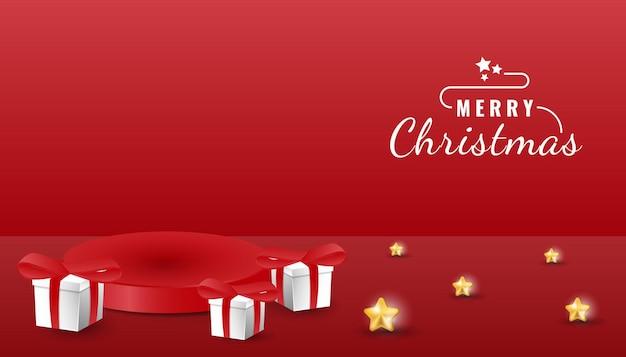 Modèle de bannière de podium joyeux noël 3d avec étoile et boîte-cadeau