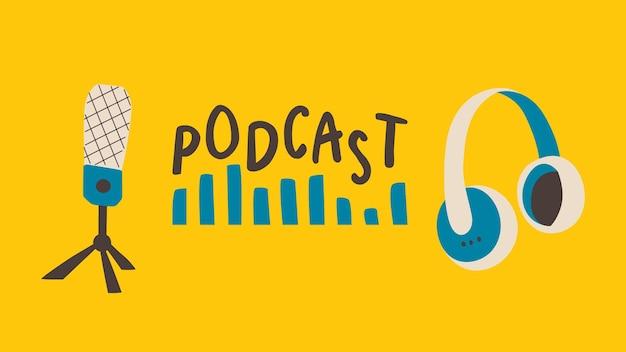 Modèle de bannière pour l'émission de podcast texte du casque de microphone et onde sonore