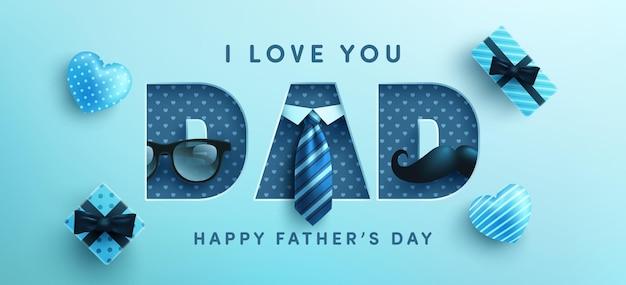 Modèle de bannière pour la fête des pères avec cravate, lunettes et coffret cadeau sur bleu