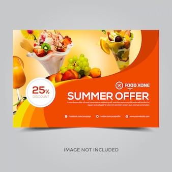 Modèle de bannière pour les offres d'été, 25% de réduction