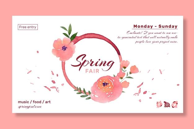 Modèle de bannière de printemps aquarelle