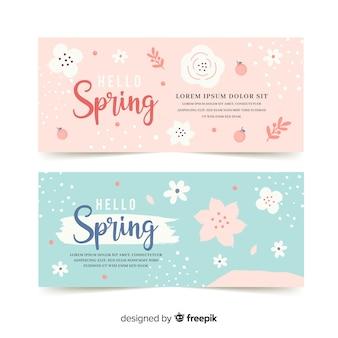 Modèle de bannière printemps couleur pastel