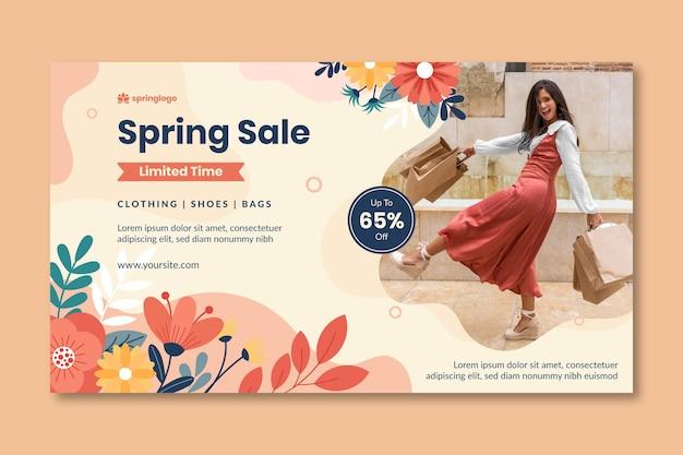 Modèle de bannière printemps et modèle design plat