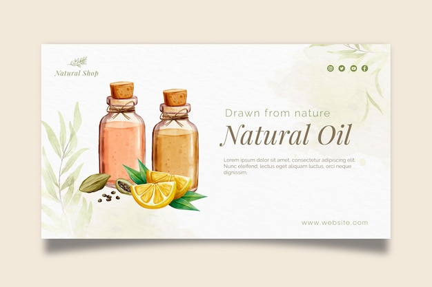 Modèle de bannière de produits cosmétiques naturels