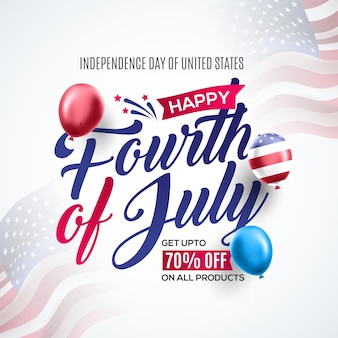 Modèle de bannière de promotion de jour de l'indépendance réaliste usa décor de drapeau américain ballons sur agitant le drapeau national américain