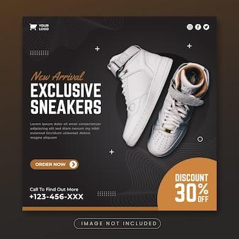 Modèle de bannière de promotion de médias sociaux de baskets exclusives